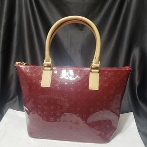 Arcadia Italian Red Patent Leather Tote w/Strap